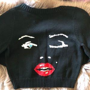 Marilyn wink face crop cardigan